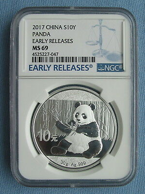 2017 China Silver Panda 10 Yuan 1 oz Ag .999 - NGC Graded MS 69 Early Releases