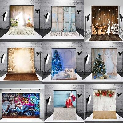 3x5FT Vinyl Studio Photography Backdrop Background Props Wooden Floor Christmas