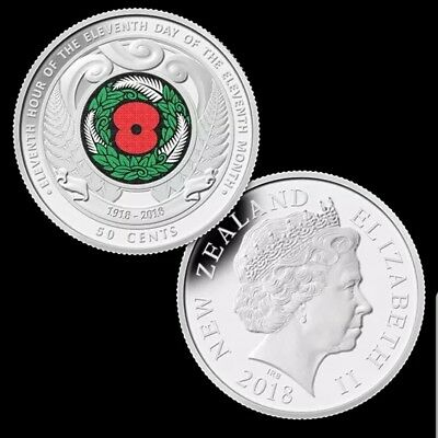 2018 - New Zealand ARMISTICE DAY Red Poppy coloured Commemorative coin NEW.rare.