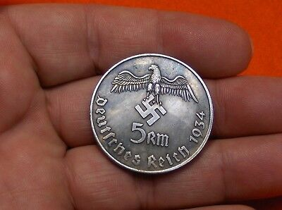 Nice 1934 Large Wwii German War Eagle Fuhrer -  5 Reichsmark Coin