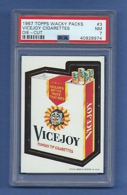 Wacky Packages 1967 Die Cut # 3 Vicejoy Cigarettes Psa 7 Nm Sharp