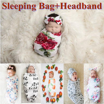 Hot Newborn Baby Girl Boy Swaddle Wrap Blanket Sleeping Bag+Headband Outfits Set