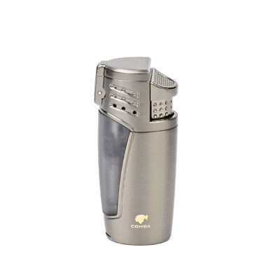 Gray COHIBA Windproof Straight Flame 3 Torch Jet Flame Lighter Smoke Accessory