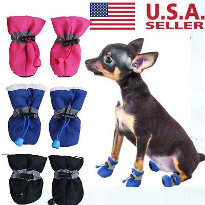 4Pcs Dog Cat Winter Warm Rain Boots Protective Pet Sports Anti-Slip Shoes Great