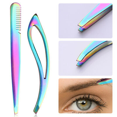 Rainbow Stainless Steel Eyebrow Tweezer Eyelash Clip Hair Removal Makeup Tools