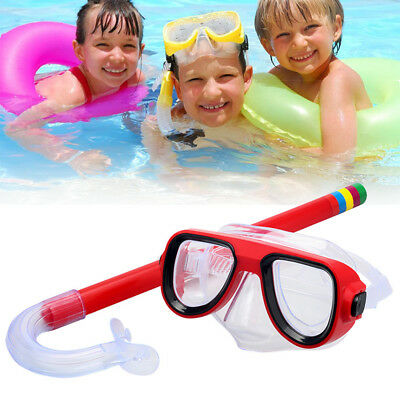 Child Diving Snorkeling Swimming Scuba Total Dry Snorkel and Mask Glass Lens PVC