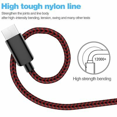 1FT  Nylon Braided Rope USB-C Type-C  Charger Charging Cable