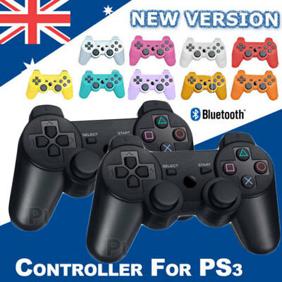 BLACK Wireless Bluetooth Controller for Sony PS3 Plastation 3 + USB Cable AU