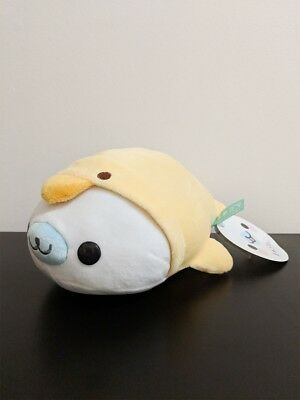 """Mamegoma White Seal With Yellow Duck Costume NWT 9"""" Small Plush Toy Round 1"""
