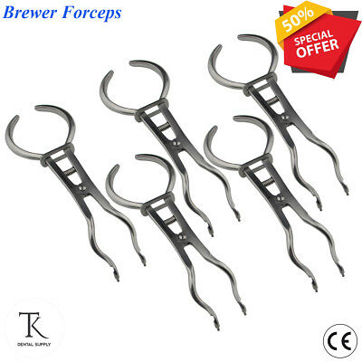 x 5 Rubber Dam Brewer retainer Clamp Forceps Endodontic Restorative instruments