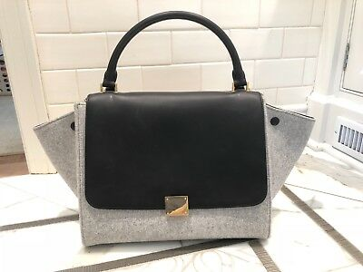RARE CELINE LARGE Trapeze Bag—Gray Felted Wool   Black Leather ... 30eb4367f9fbd