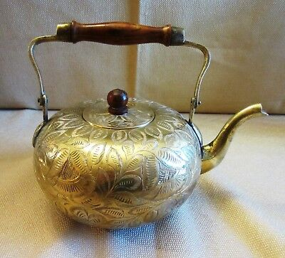 Unique Heavy Vintage Brass Teapot from India - Beautifully Embellished