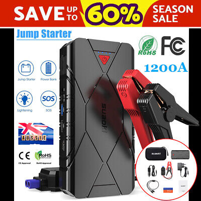 SUAOKI 1200A 16000mAh Jump Starter Smart Battery Emergency Power Bank Charger AU