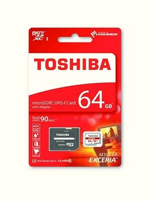 Toshiba Exceria 64GB MicroSDXC UHS-I Class 10 90mb/s with adaptor THN-M302R0640
