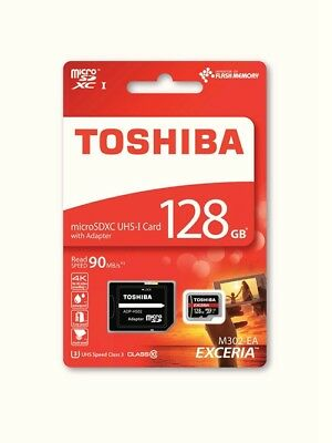 Toshiba Exceria 128GB MicroSDXC UHS-I Class 10 90mb/s with adaptor THN-M302R1280