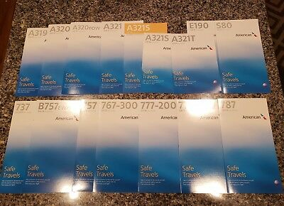 American Airlines 16 Safety Cards LOT Airbus Boeing Embraer McDonnell Douglas