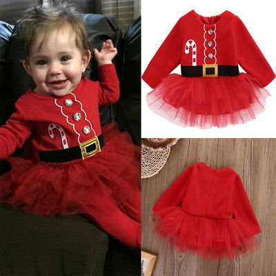 US Kid Baby Girl XMAS Santa Claus Dresses Party Tulle Tutu Dress Outfits Clothes