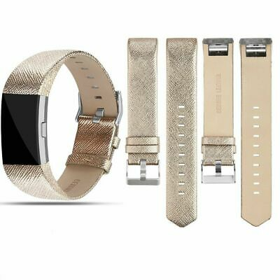For Fitbit Charge 2 Replacement Leather Wristband Wrist Strap Watch Band Gold