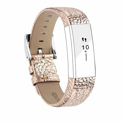 Leather Watch Band Adjustable Replacement Straps Wrist R Gold For Fitbit Alta HR