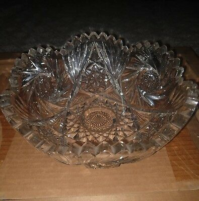 "Gorgeous American Brilliant 8"" Cut Glass Dish Fruit Bowl With Scalloped Edges"