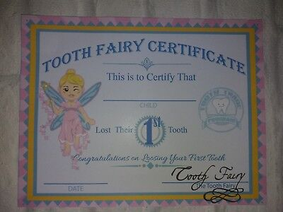 Tooth fairy certificate first tooth