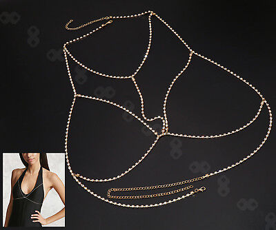Gold Women Body Chain Jewelry Bikini Waist Belly Beach Harness Slave Necklace
