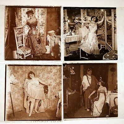 MOULIN ROUGE CHANTEUSES VERASCOPE 4 PLAQUES VERRE STEREO STEREOSCOPIQUES 45x107