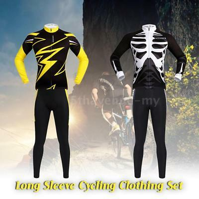 WOSAWE Men's Long Sleeve Cycling Jersey Sets Breathable 4D Padded Pants D5X2