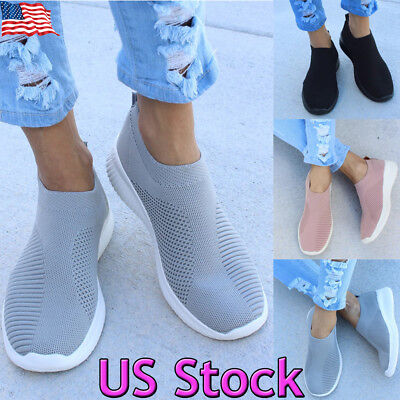 Womens Trainers Sock Runners Ladies Comfy Speed Slip On Gym Shoes Sneakers Size
