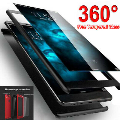 360° Full Cover Hybrid Case + Tempered Glass For Samsung Galaxy A8 A30 S9 S8 S10