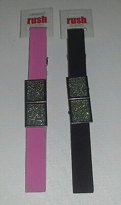 Retro Look Girls Glitter Buckel Belts Stretch One Size Fits All Nwt Pink Brown