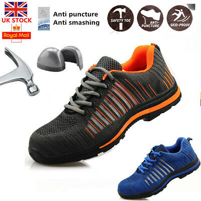 Uk Mens Lightweight Steel Toe Cap Safety Work Trainers Shoes Boots Ankle New