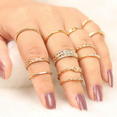 12 pcs Ladies Multi Styles Thin Wrap Knotted Carved Finger Ring Set Jewelry N7