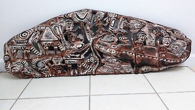 Old PNG Sepik River Carved Wooden Story Board / Storyboard Papua New Guinea