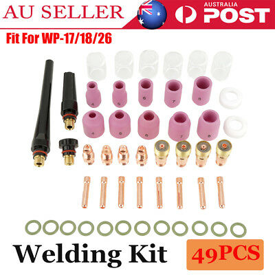 49X TIG Welding Torch Stubby Gas Lens #10 Pyrex Glass Cup Kit For WP-17/18/26 AU