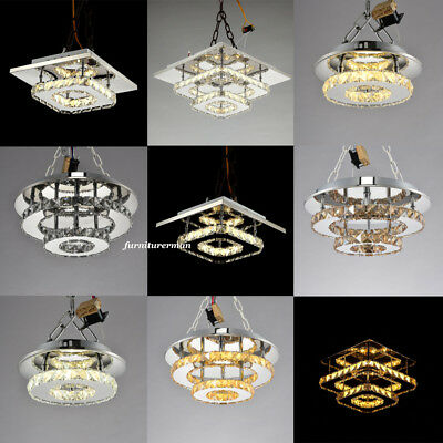 LED Crystal Round / Square Chandelier Style Modern Ceiling Light Lamp Aisle Home
