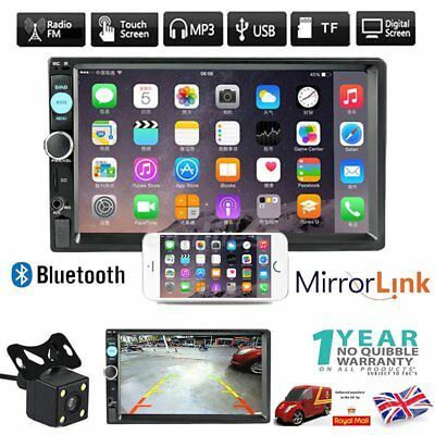 """2 Din 7"""" Bluetooth Touch Screen Car FM Radio Stereo MP5 Player + Rearview Camera"""