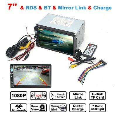 """7"""" Double 2 DIN Bluetooth Car Stereo MP5 Player Touch Screen BT Radio FM/USB/AUX"""