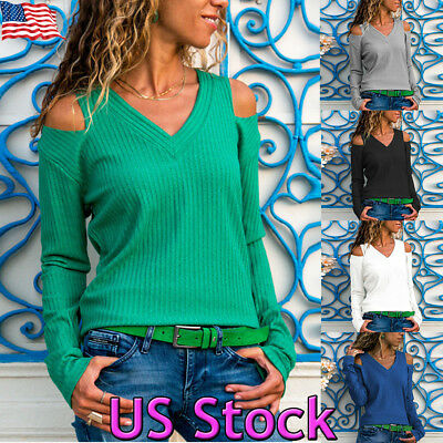 Womens Cold Shoulder Long Sleeve Casual Tops V-neck Slim Blouses Sexy Pullover