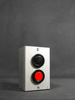 Vintage East Germany DDR industrial START STOP pushbutton switch aluminium