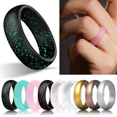 Glitter Silicone Rubber Finger Ring Band Wedding Rings Sport Gym Fashion Ring