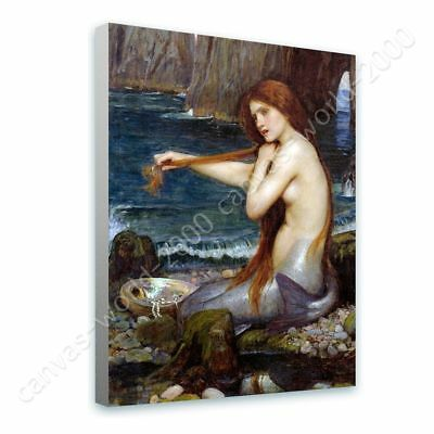 A Mermaid by Waterhouse | Ready to hang canvas | Wall art paint oil painting