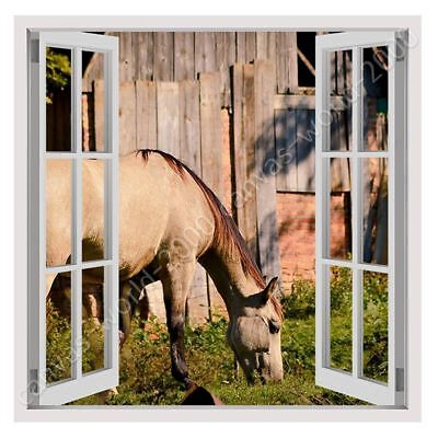 Horse Grazing Farm by Fake 3D Window | Ready to hang canvas | Wall art print