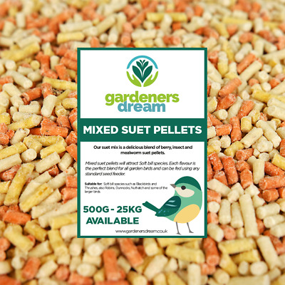 GardenersDream Mixed Suet Pellets - High Energy Mealworm Berry Wild Bird Food
