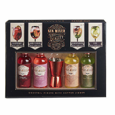 The Modern Cocktail Gin Cocktail Set 4 Flavoured Cocktail Mixers with Jigger