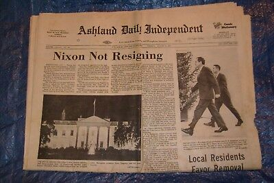 """Nixon Not Resigning 8/6/1974 """"And"""" Nixion Resigning 8/8/1974 Two Newspapers"""