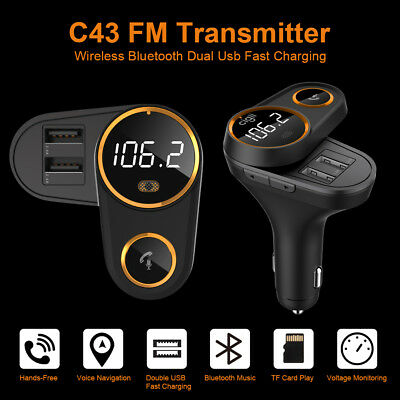 Handsfree Car LCD Wireless Bluetooth FM Transmitter 2 USB Charger SD MP3 Player