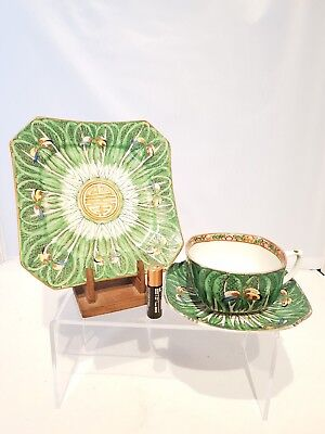 Superb Chinese Antique 20thC Signed Cabbage Leaf Tea Cup Saucer Side Plate Trio