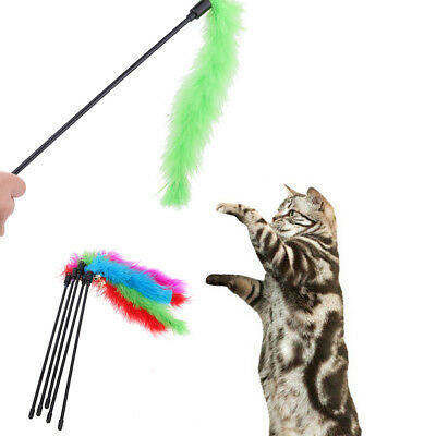 Pet Cat Kitten Turkey Feather Interactive Stick Toy Teaser Wire Chaser Wand Bell