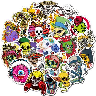 Scary Horror Themed Mixed Skateboard Stickers 50Pc Skull Blood Gore Sticker Bomb